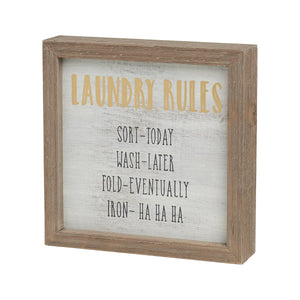 laundry rules barn box sign