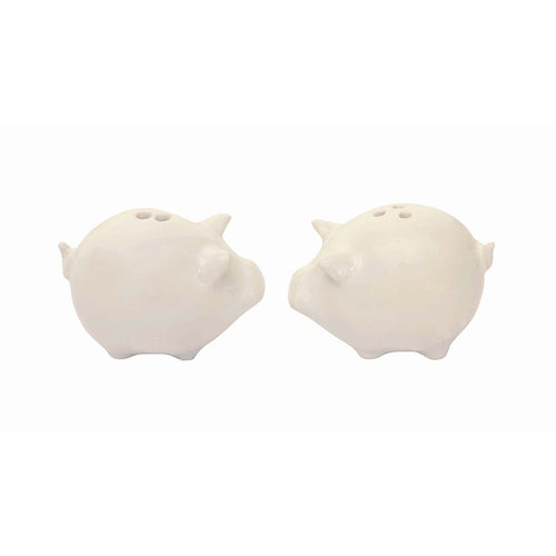 Stoneware pigs salt and pepper shaker set in white