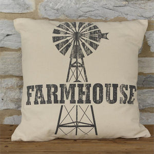 farmhouse pillow with windmill