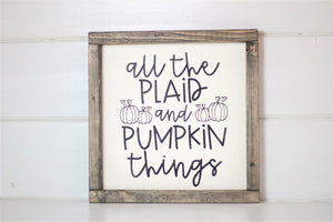 Plaid & Pumpkin Wood Sign