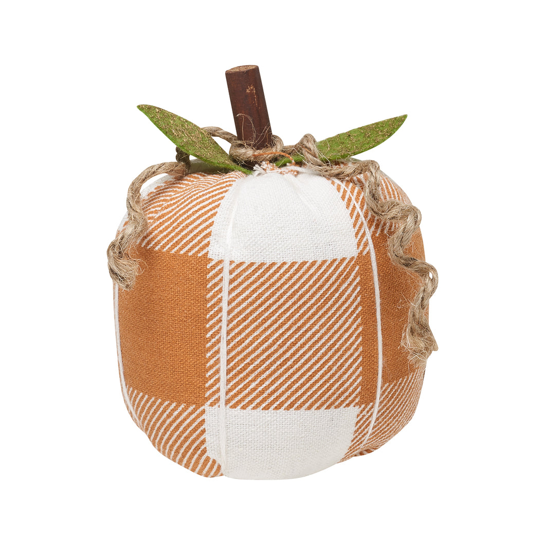 orange and white check fabric pumpkin size small