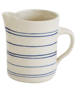 blue white striped stoneware pitcher