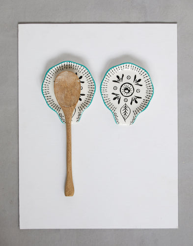 hand painted stoneware spoon rest