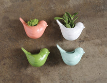 Load image into Gallery viewer, Stoneware Bird Vase with Magnet in Coral, White, Green or Mint