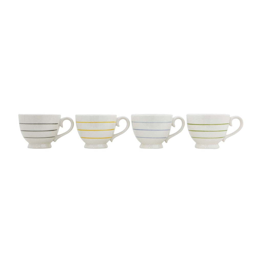 Striped Mug in 4 colors of blue, yellow, green and gray