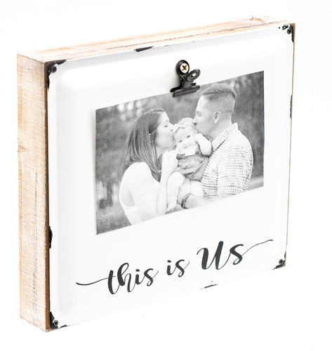 this is us wood and enamel picture frame with clip