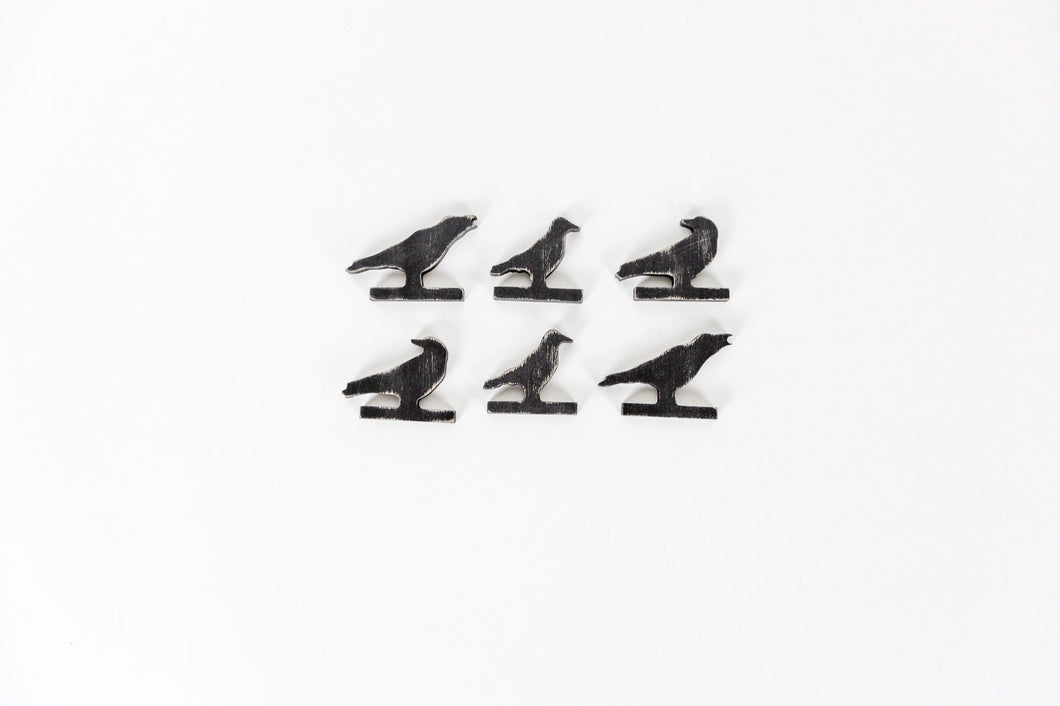 wooden crows set of 6