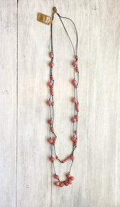 Stone Bead Necklace-Pink