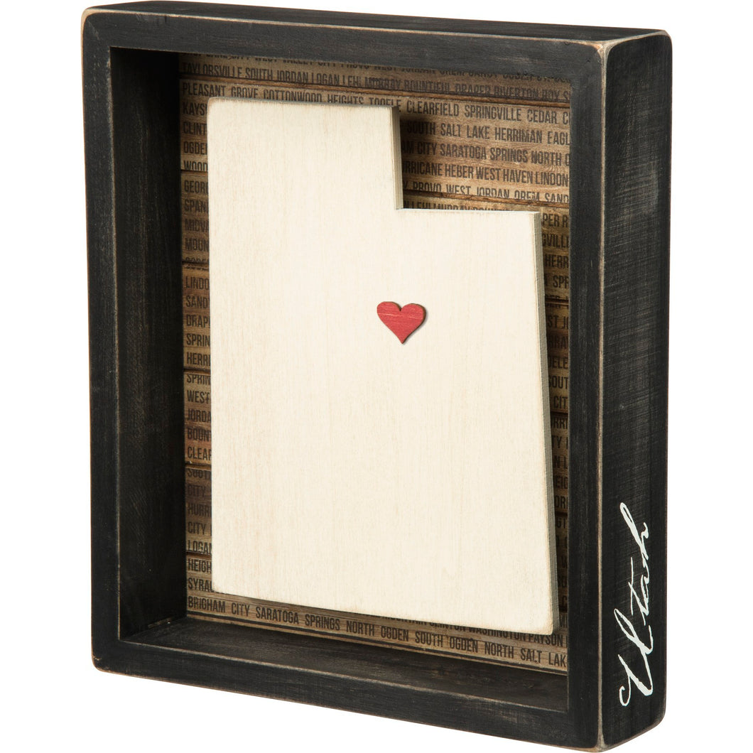 Utah wood box sign with heart marker