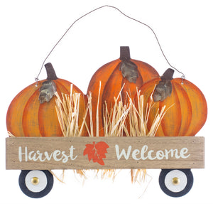 Harvest Welcome Wood Sign Wagon with Pumpkins