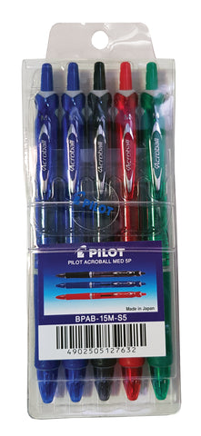 PILOT ACROBALL MEDIUM BALL PEN 5PCS