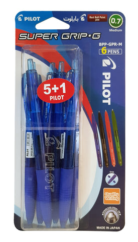 PILOT SUPERGRIP FINE BALL PEN 6 PCS