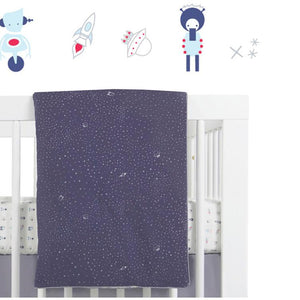 Babyletto Galaxy 5-Piece Set Sheet, Skirt, Play Blanket, Pad Cover & Wall Decal