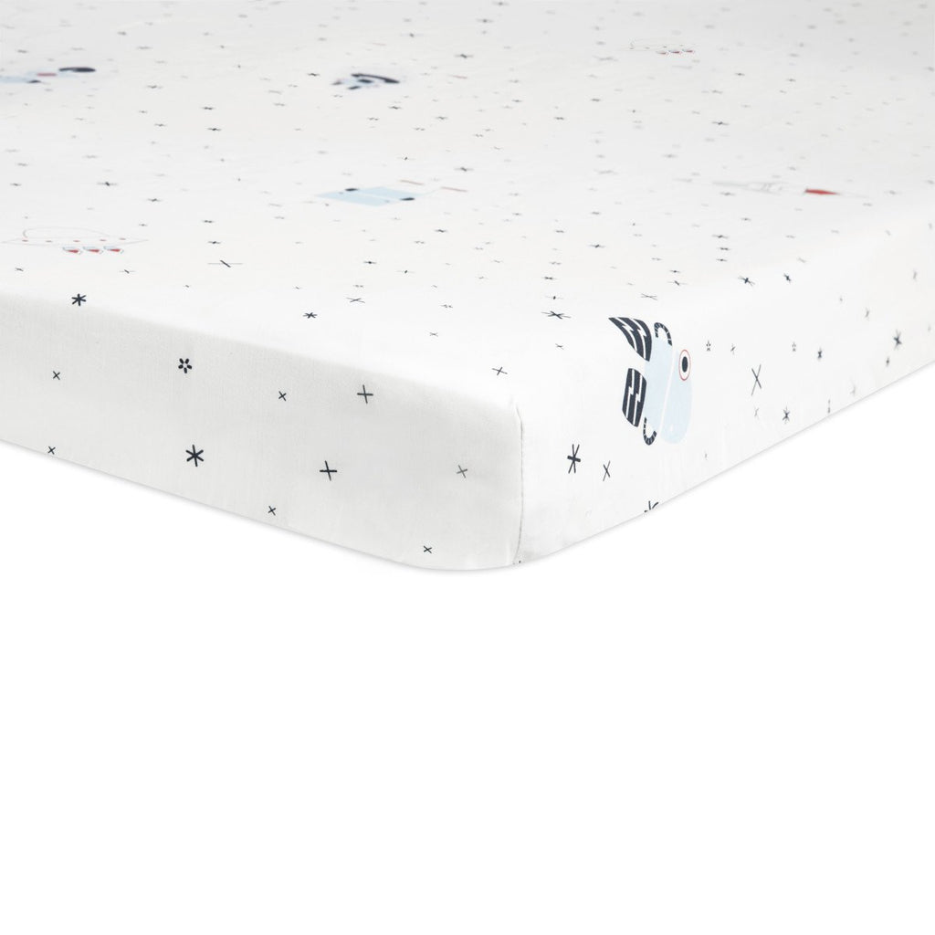 Babyletto Galaxy Floating Robots Fitted Mini Crib Sheet