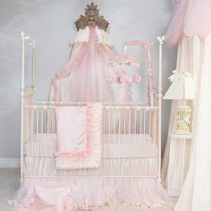Glenna Jean Anastasia 3-Piece Bedding Set (Includes quilt, pink moiré sheet & crib skirt)
