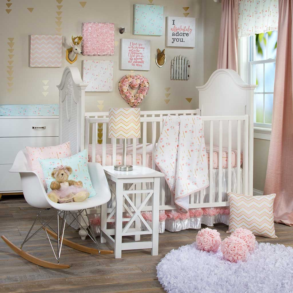 Glenna Jean Audrey 3-Piece Bedding Set (Includes quilt, pink print sheet & crib skirt)