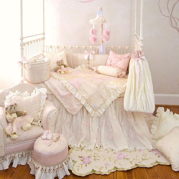 Glenna Jean Ava 3-Piece Bedding Set (Includes quilt, pink moiré sheet & crib skirt)