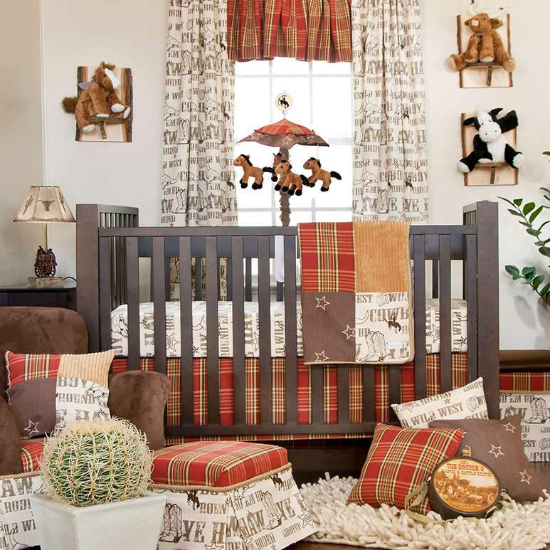 Glenna Jean Carson 2-Piece Starter Bedding Set (includes cowboy print sheet & crib skirt)