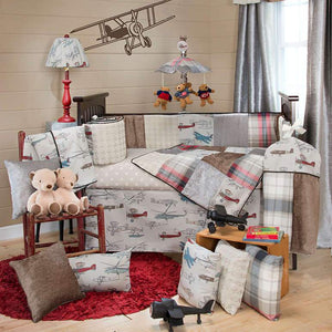 Glenna Jean Fly-By 4-Piece Bedding Set (Includes quilt, bumper, grey dot sheet & crib skirt)