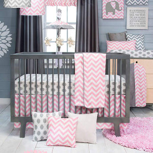 Glenna Jean Swizzle Pink 4-Piece Bedding Set (Includes quilt, bumper, grey dot sheet & crib skirt)