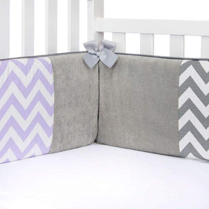 Glenna Jean Swizzle Purple 4-Piece Bedding Set (Includes quilt, bumper, grey dot sheet & crib skirt)