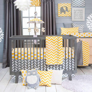 Glenna Jean Swizzle Yellow 3-Piece Bedding Set (Includes quilt, yellow dot sheet & crib skirt)