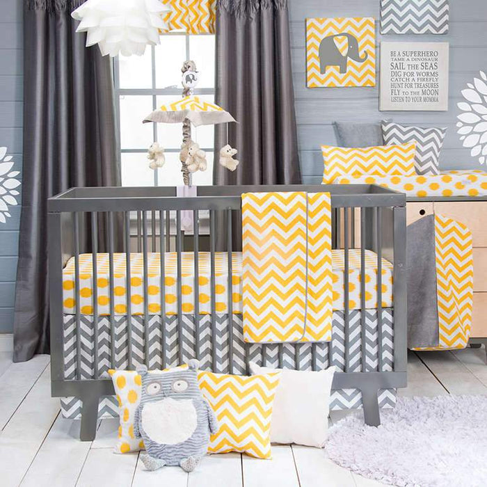 Glenna Jean Swizzle Yellow 4-Piece Bedding Set (Includes quilt, bumper, yellow dot sheet & crib skirt)