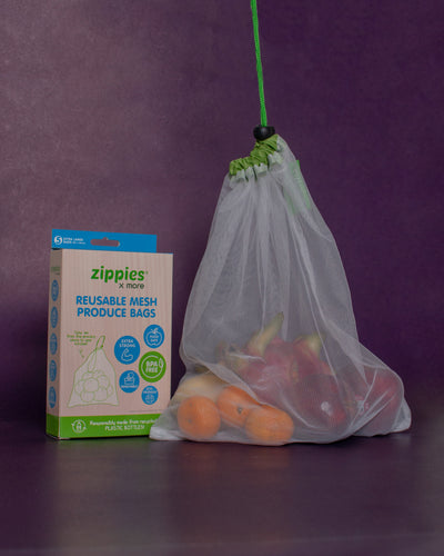 Zippies Recycled Plastic Reusable Mesh Produce Bag (Set of 5) - Loop.