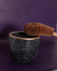 Coconut Husk Toilet Brush Set - Black Holder