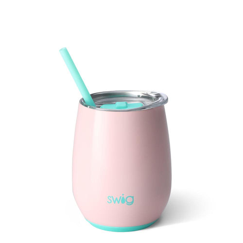 Swig Life 14oz Stemless Wine Cup with Straw in Blush