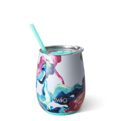 Swig Life 14oz Stemless Wine Cup with Straw wrapped in the print Color Swirl