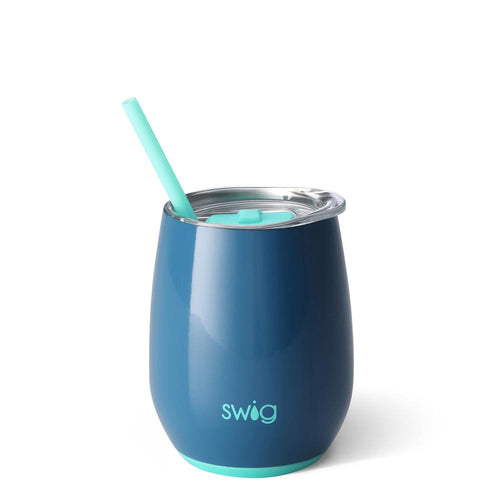 Swig Life 14oz Stemless Wine Cup with Straw in Denim
