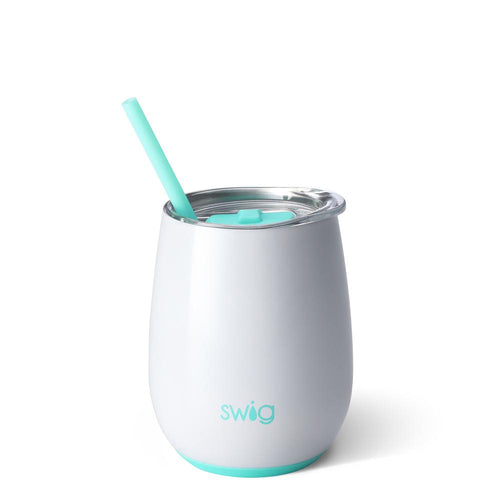 Swig Life 14oz Stemless Wine Cup with Straw in Diamond White