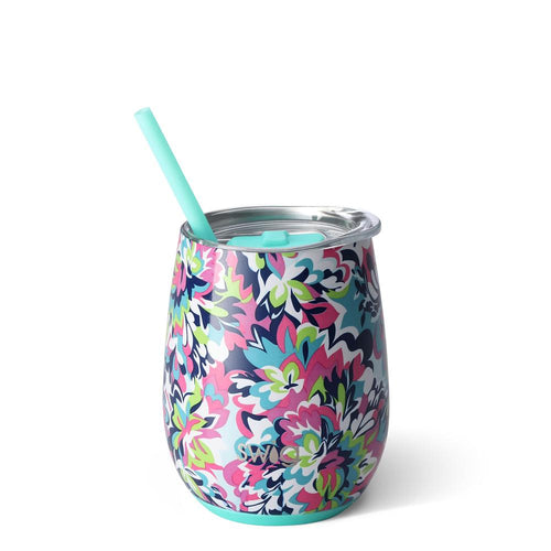 Swig Life 14oz Stemless Wine Cup with Straw wrapped in the print Frilly Lilly