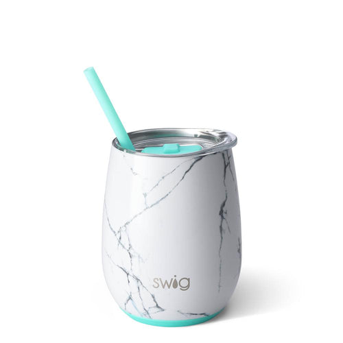 Swig Life 14oz Stemless Wine Cup with Straw wrapped in the print Marble Slab