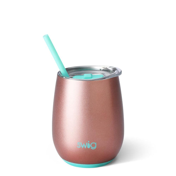 Swig Life 14oz Stemless Wine Cup with Straw in Rose Gold