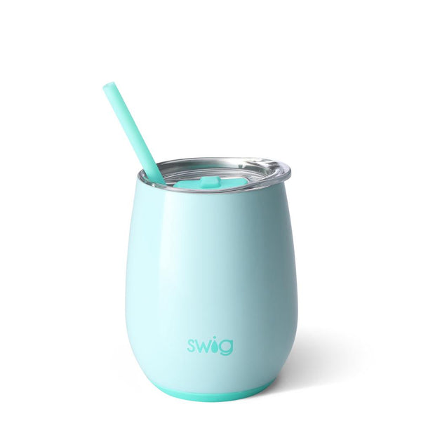 Swig Life 14oz Stemless Wine Cup with Straw in Seaglass