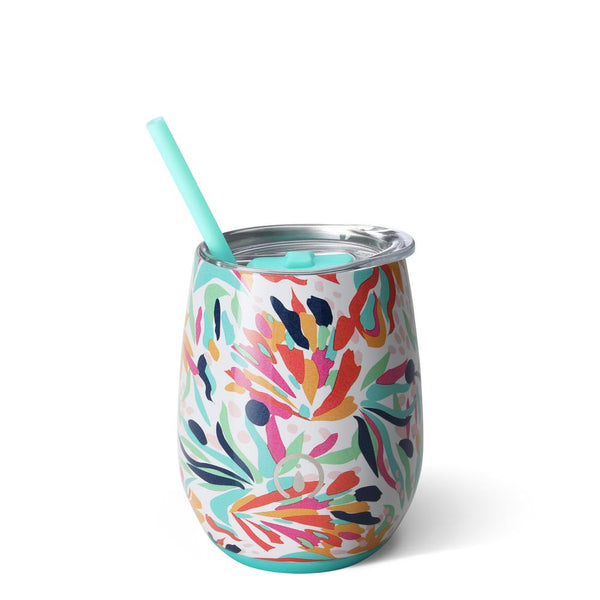 Swig Life 14oz Stemless Wine Cup with Straw wrapped in the print Wild Flower