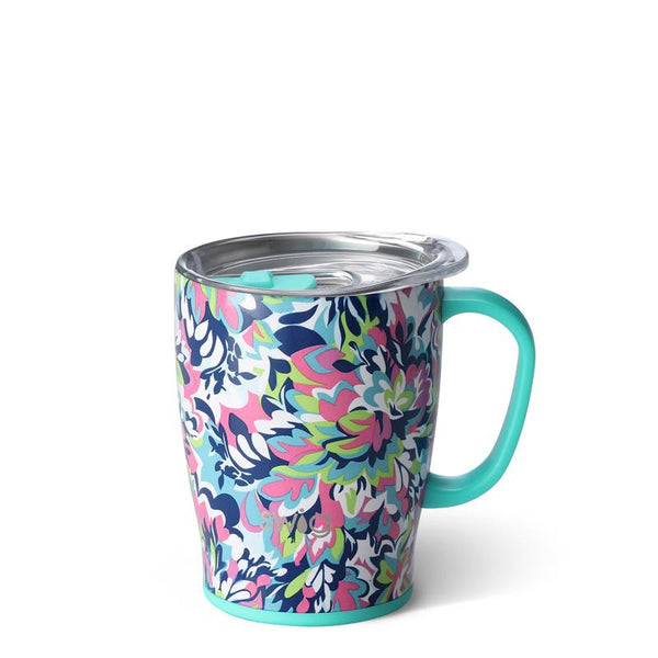 Swig Life 18oz Mug wrapped in the print Frilly Lilly