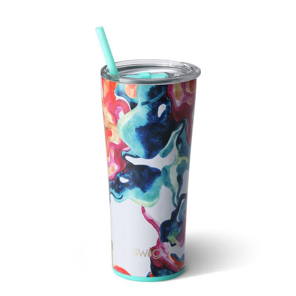 Swig Life 22oz Tumbler wrapped in the print Color Swirl