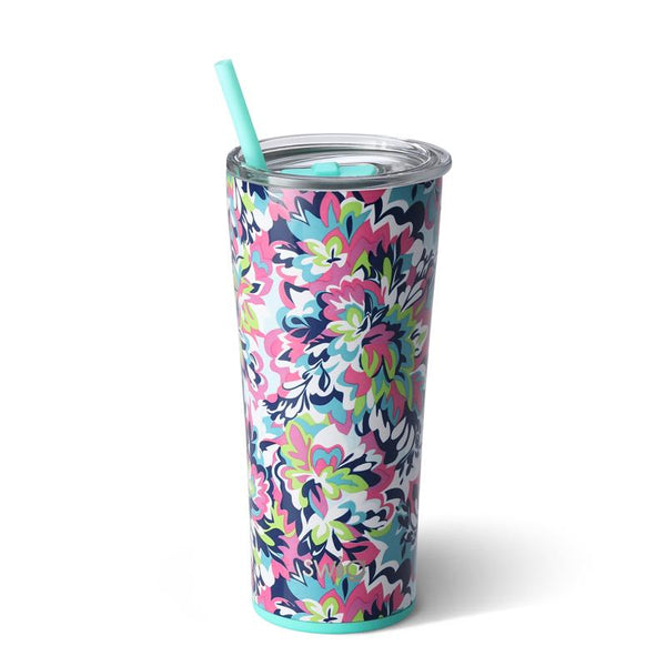 Swig Life 22oz Tumbler wrapped in the print Frilly Lilly
