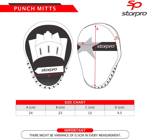 M33 Coaching Mitts Size Chart