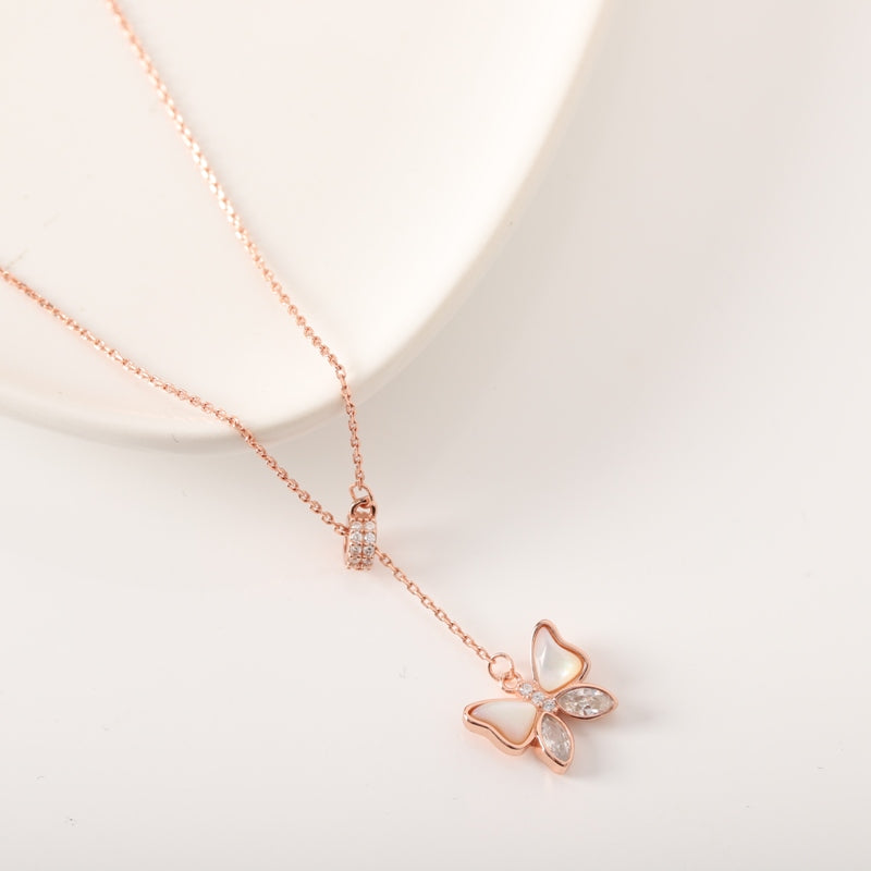 Butterfly Drop Chain Necklace - Nona