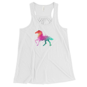 Watercolor Stallion (Girl's Flowy Racerback Tank Top)