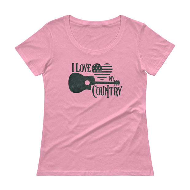 I Love My Country (Girl's Scoopneck Tee)
