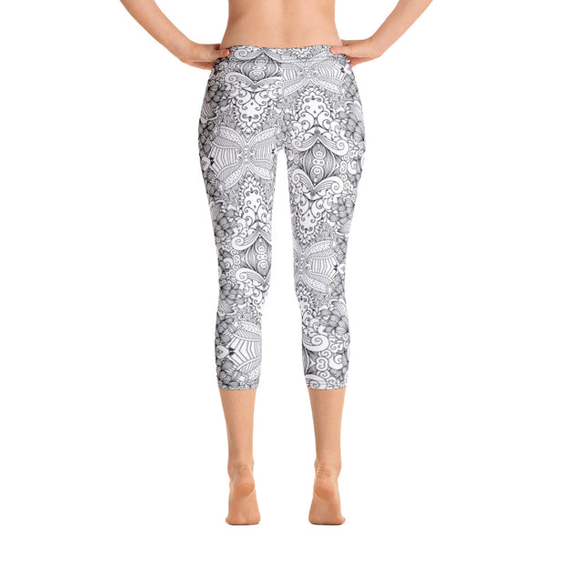 Floral Sketch (Girl's Capri Leggings)