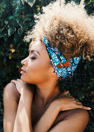Headwrap Blue Red Flowers