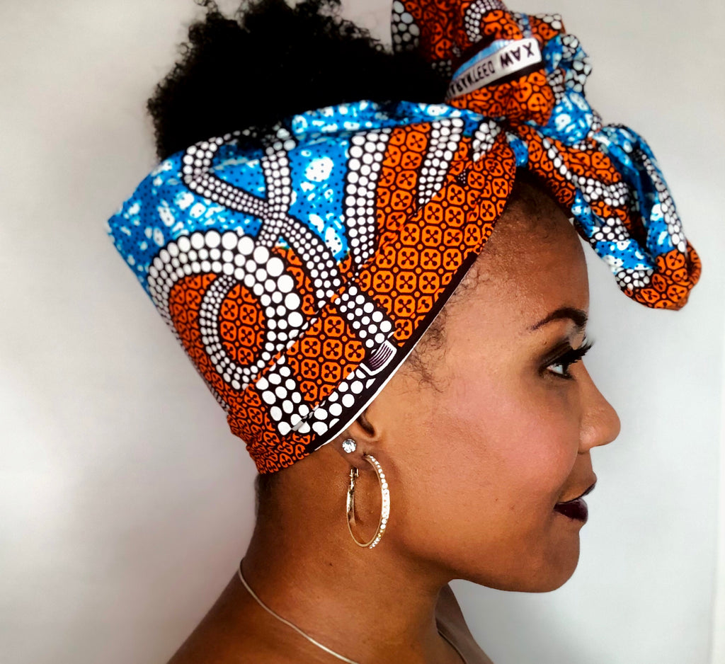 Headwrap Bright Blue & Orange