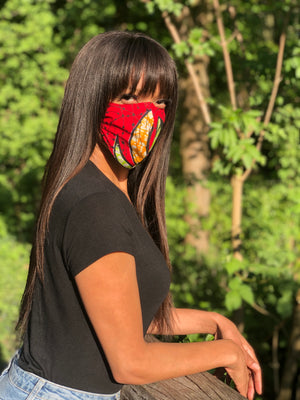 Open image in slideshow, Face Mask Red/Yellow Bow