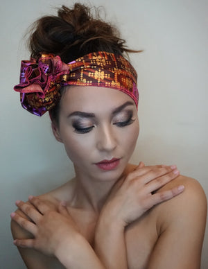 Headwrap Pink/Purple Wave